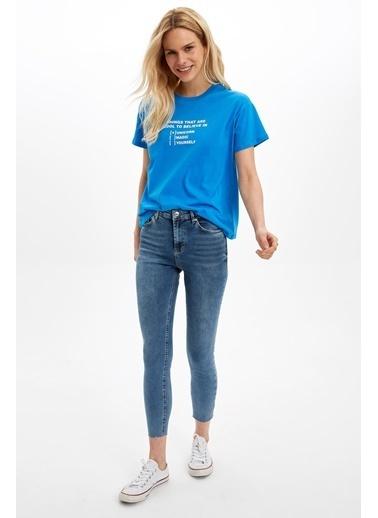 DeFacto Baskılı Kısa Kollu Tişört Mavi